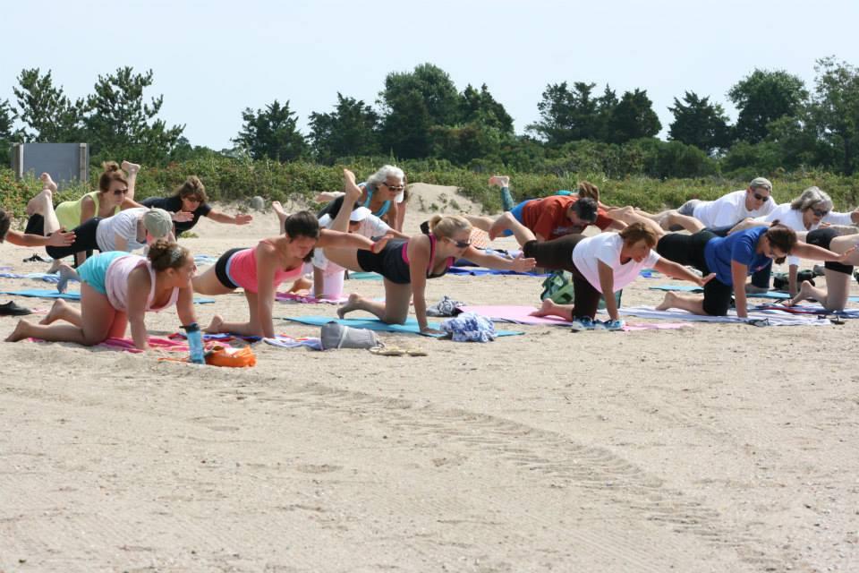 yoga at Hammonasset Beach