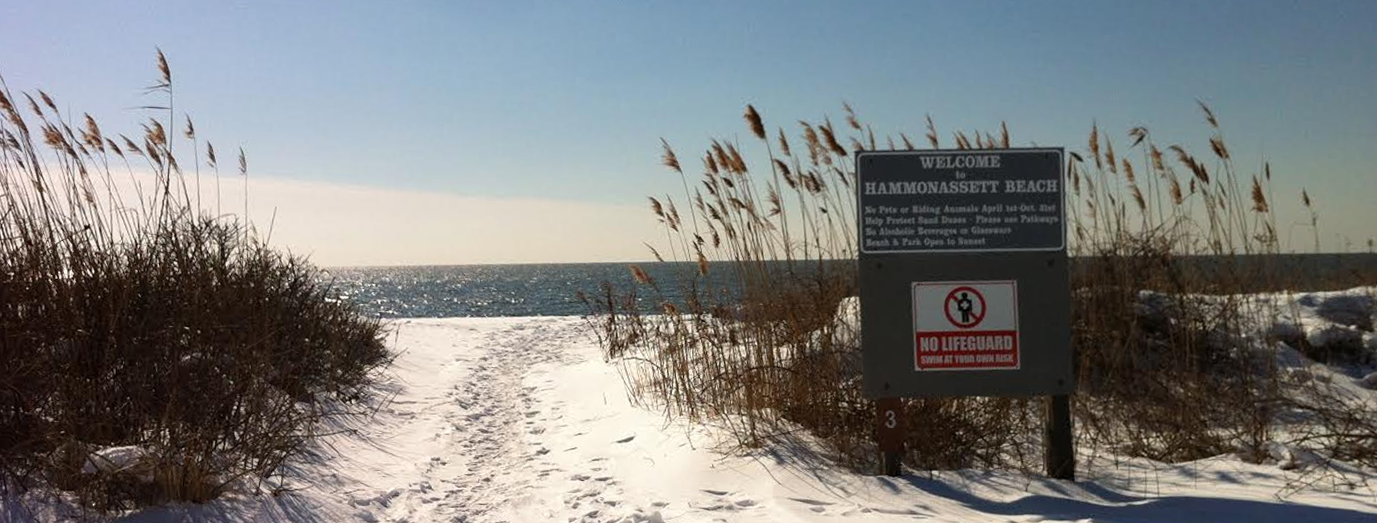 Hammonasset Beach State Park in snow